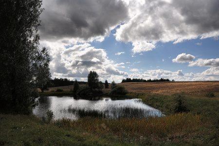 Den gesuchten größeren See fanden wir nicht, aber immerhin diesen abgelegenen Weiher - und viel unberührte polnische Landschaft (Foto: Martin Dühning)