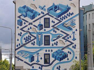 Großflächige Fassadenmalerei in Stettin (Foto: Martin Dühning)