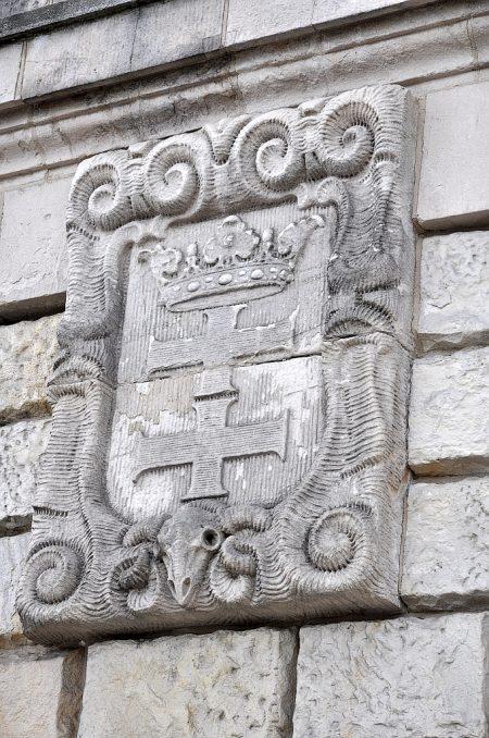 """Wappenschild zur """"Provinzstadt"""" Danzig auf der Plattform der Hakenterrasse (Foto: Martin Dühning)"""