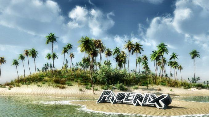 Eine sonnige Südsee-Phoenix-Insel, wohin man sich beim herbstlichen Schmuddelwetter wieder hinwünscht, erstellt mit Vue Infinite im Jahr 2012 (Grafik: Martin Dühning)