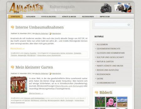 Es ist in die Jahre gekommen, das Outfit von Anastratin.de, das seit 2012 auf dieser Seite zu sehen war (Foto: Martin Dühning)