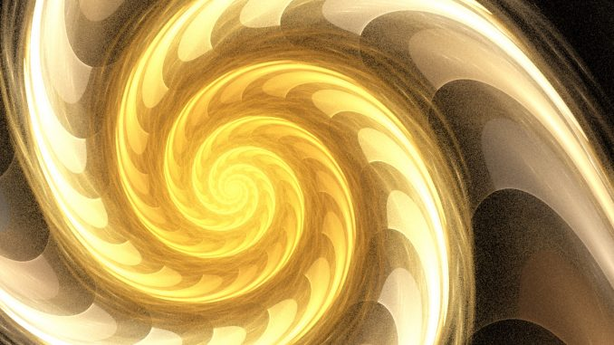 Fraktale Flammenspirale, erstellt mit dem Fraktalgenerator Apophysis (Grafik: Martin Dühning)