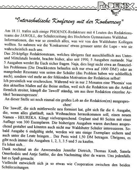 In den 90er Jahren traf sich die Phoenix-Redaktion auch mit ihren Schülerzeitungskollegen vom Hochrhein-Gymnasium, wie ein damaliger Artikel belegt.