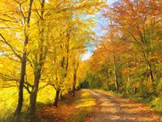 Ein digitales Herbstlandschaftsgemälde nach einem Wanderweg bei Lauchringen (Grafik: Martin Dühning)