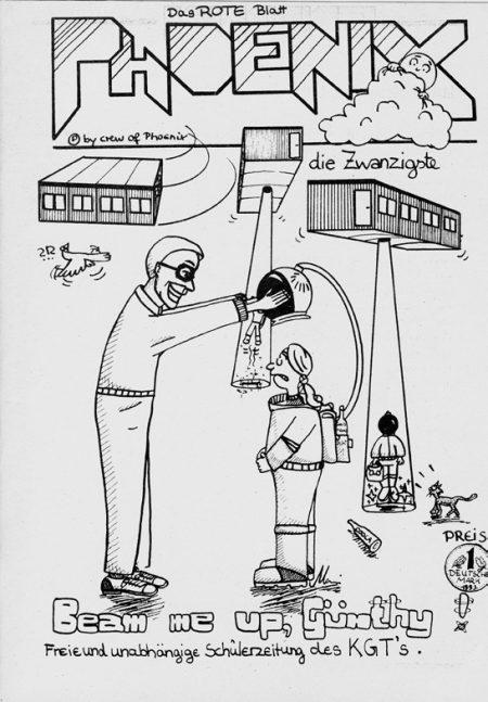 Das Cover der Phoenix Nr. 20, im Original auf knallrotes Papier gedruckt, nimmt die damaligen Zustände am KGT aufs Korn: Leben in Containern (Covergrafik: Manfred Renner)