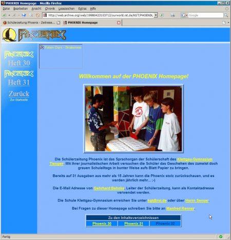 1997 ging die erste Phoenix-Webseite online - zeitgleich mit der ersten KGT-Webseite. Beide wurden von Technik-Pionier Manfred Renner erschaffen.