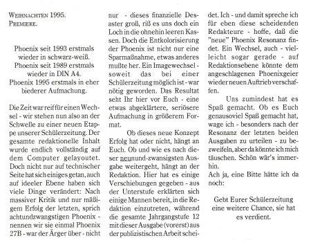 Das Editorial der Phoenix Nr. 29 im Dezember 1995 - Gezeitenwechsel kündigten sich an.