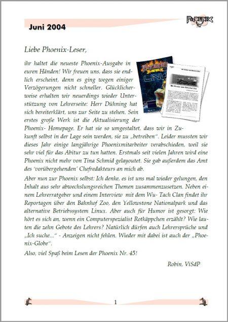Seite 1 der Phoenix Nr. 45 im neuen OpenOffice-Layout mit dem Editorial von Chefredakteur Robin (Foto: Martin Dühning)