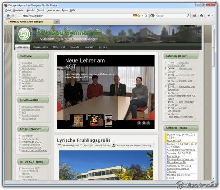 Die grüne KGT-Webseite als der Niarts-Epoche am Klettgau-Gymnasium - so präsentierte sich das KGT von 2008-2016.