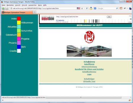 Der Relaunch der KGT-Website im Jahr 2000, gestaltet vom Webteam unter Markus Hable
