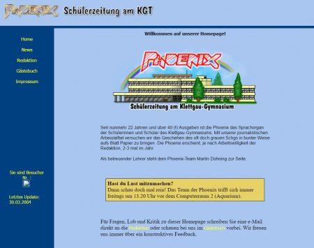 Das etwas aufgefrischte Layout der Phoenix-Webseite im Jahr 2004 (Foto: Martin Dühning)