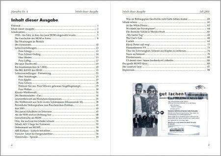 Das Inhaltsverzeichnis der Memphis Nr. 4 bot 88 Seiten auf - das war die drucktechnische Grenze für Klammerheftung