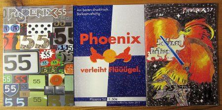 Die Phoenixen Nr. 55, 56, 57 unter der Chefredaktion Gabriele, Mark, Andreas und Julius (Foto: Martin Dühning)
