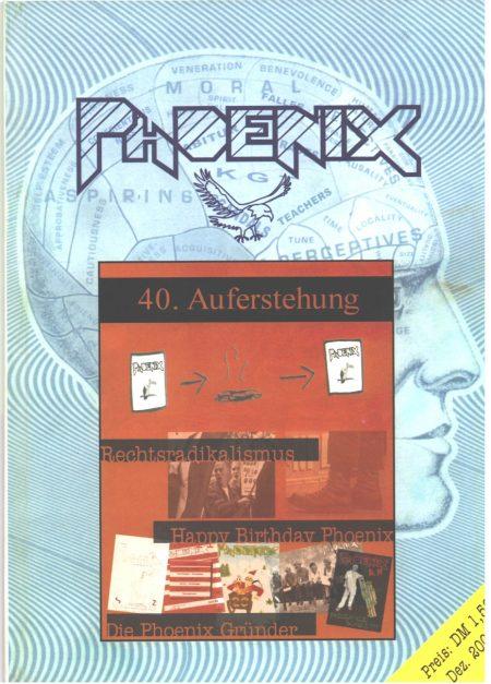 Das Cover der Phoenix Nr. 40 - zum Jubiläum erstrahlte die Phoenix noch einmal im alten Glanz, bevor 2001 das neue Jahrtausend anbrach