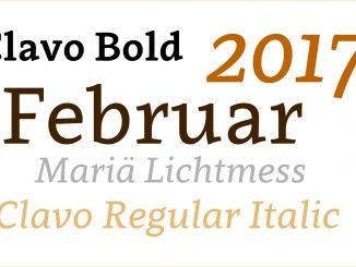 Schriftenspielerein im Februar 2017 - hier kommt Clavo zum Einsatz.