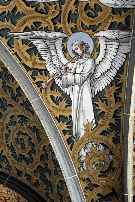 Fanfare spielender Engel, Deckengemälde in St. Peter und Paul (Foto: Martin Dühning)