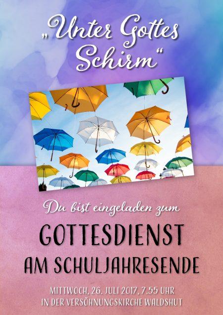 Offizielles Plakat zum Schuljahresabschlussgottesdienst 2017 am Hochrhein-Gymnasium (Grafik: Martin Dühning)