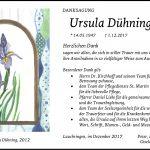 Danksagung für Ursula Dühning