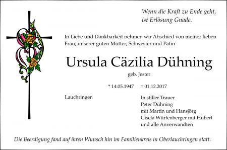 Todesanzeige für Ursula Dühning