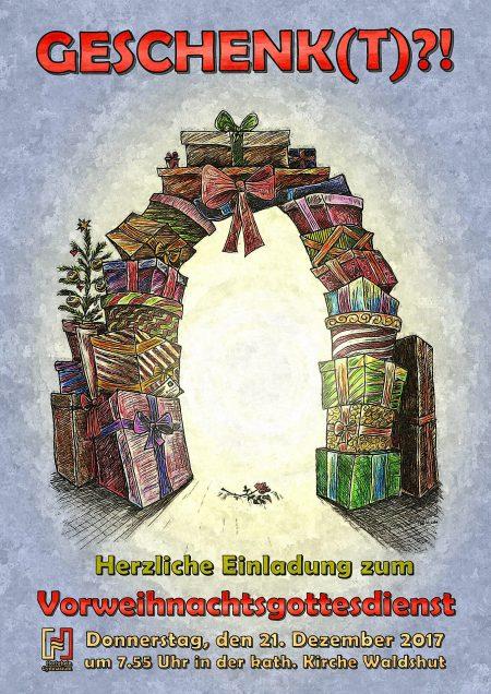 Plakat zum Vorweihnachtsgottesdienst am Hochrhein-Gymnasium (Grafik: Martin Dühning)