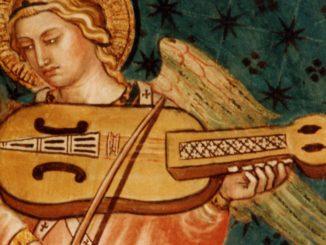 Nyckelharpa auf einem Fresko in Siena, 1408 (Quelle: Wikimedia Commons)