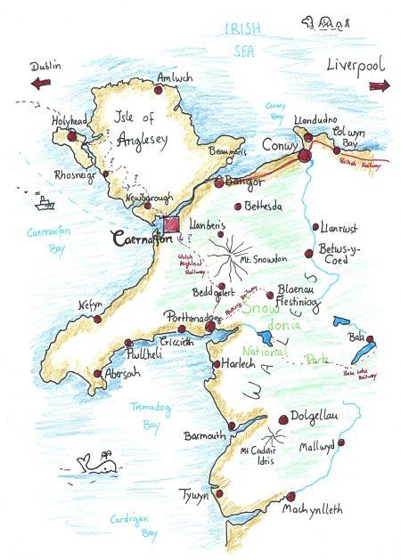 Der Weg nach Caernarfon - gezeichnet von Martin Dühning