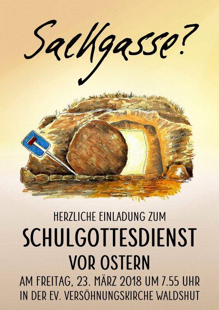 Plakat zum Schulgottesdienst vor Ostern am Hochrhein-Gymnasium (Grafik: Martin Dühning)