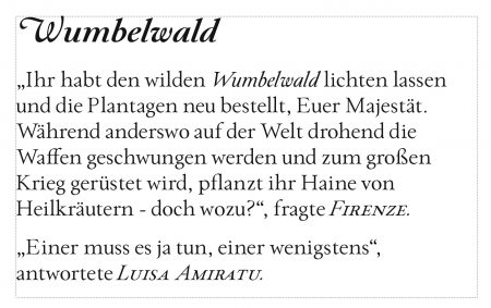 """Textausschnitt aus der Erzählung """"Wumbelwald"""", gelayoutet in Paciencia Regular (Grafik: Martin Dühning)"""