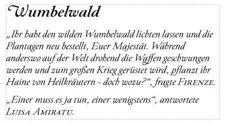 """Textausschnitt aus der Erzählung """"Wumbelwald"""", gelayoutet in Paciencia Regular Italic (Grafik: Martin Dühning)"""