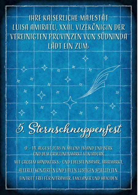 Einladung der Vizekönigin zum diesjährigen Sternschnuppenfest