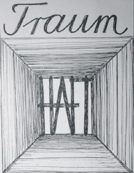 """Plakat zur Theateraufführung """"Traumhaft"""" - Frau Tschernings """"Markante Theaterbühne"""" führte das auf Dürrenmatt basierende Stück an vier Abenden zwischen dem 1. und dem 6. Februar 2007 auf."""