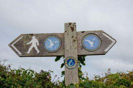 Wegschild des Anglesey Coastal Paths bei Holyhead (Foto: Martin Dühning)