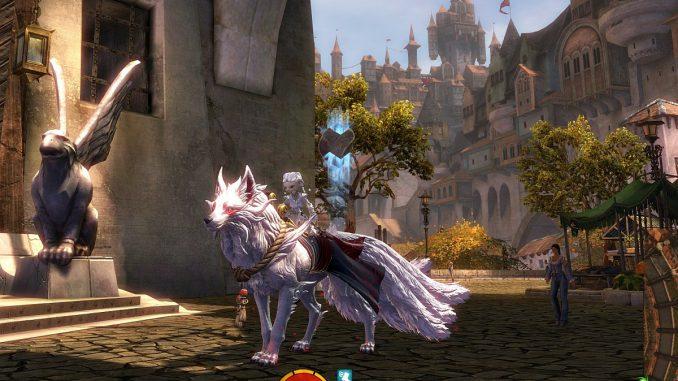 Asura mit Schreinwächter-Reittier in Guild Wars 2 (Screenshot)