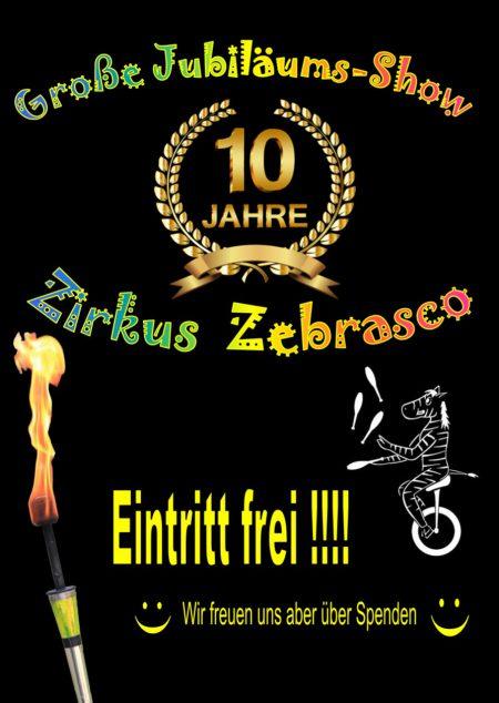 Einladungsplakat zum Jubiläumsprogramm des Zirkus Zebrasko