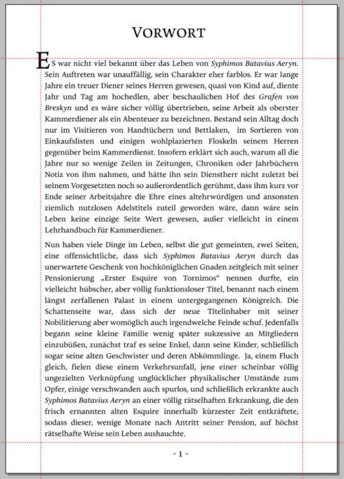 """Auszug aus dem Roman """"Der Fall des Hauses Aeryn"""", gelayoutet in der Schriftart Eloquence (Text und Grafik: Martin Dühning)"""