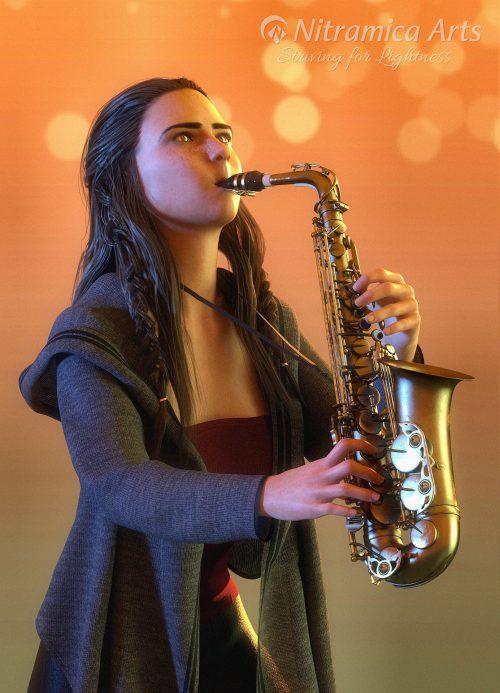 Saxophonistin (Grafik: Martin Dühning)