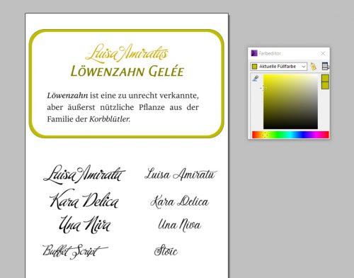 Schriftenspielereien mit Buffet Script, Stoic und Eloquence Light in Xara Designer Pro (Screenshot)