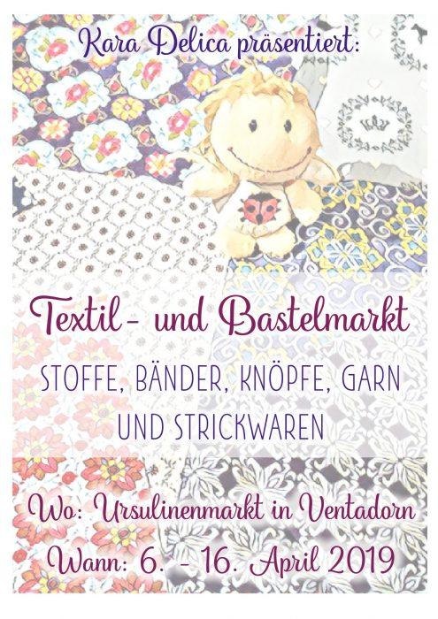 Werbeplakat zum Textil- und Bastelmarkt in Ventadorn