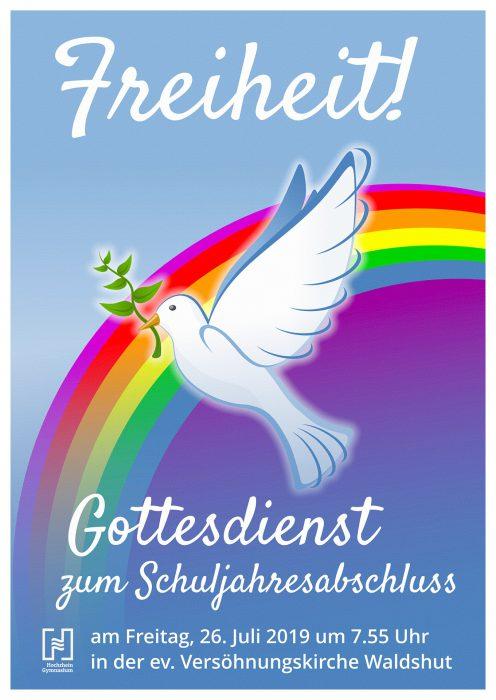 Plakat zum Schuljahresabschlussgottesdienst 2019 am Hochrhein-Gymnasium (Layout: Martin Dühning)