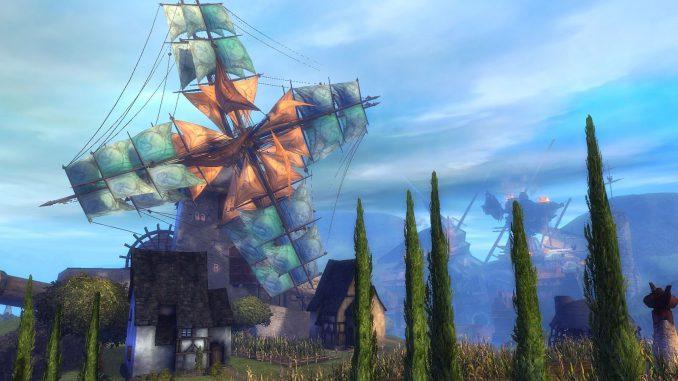 Mühle in Tyria (Screenshot, verkünstelt)