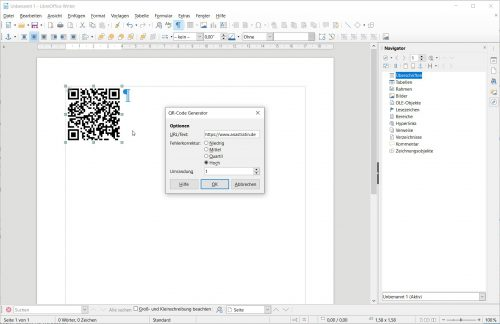 Der QR-Code-Editor von LibreOffice 6.4 (Screenshot)