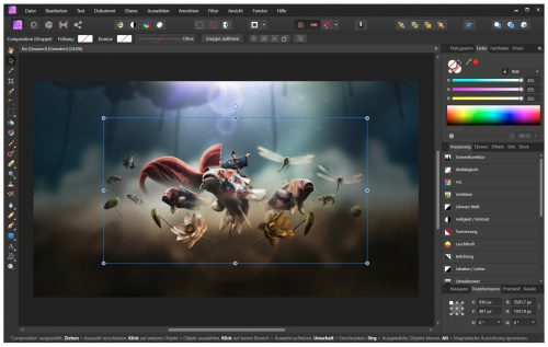 Affinity Photo bietet in Version 1.8 nicht nur viele Funktionen einer Fotobearbeitung, sondern taugt auch als Malprogramm - hier mit der Beispieldatei Koi (Screenshot)
