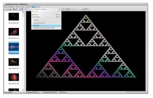 Die wieder zum Leben erweckte Makrofunktion von Apophysis 7X erzeugt per Skript ein Sierpinski-Dreieck (Screenshot).