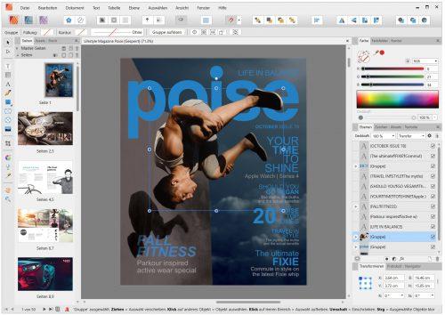 Beispielsatz eines Magazins in Affinity Publisher 1.8 in heller Designumgebung (Screenshot)