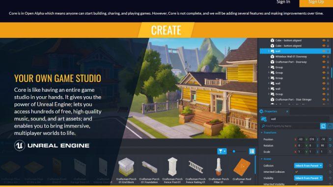 Webseite des Spielebaukastens Core von Manticore (Screenshot)