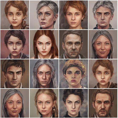 Einige Fantasygesichter, erstellt mit ArtBreeder (Grafik: Martin Dühning)