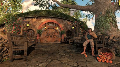 Hobbit vor einem Hobbitgasthaus (Grafik: Martin Dühning)