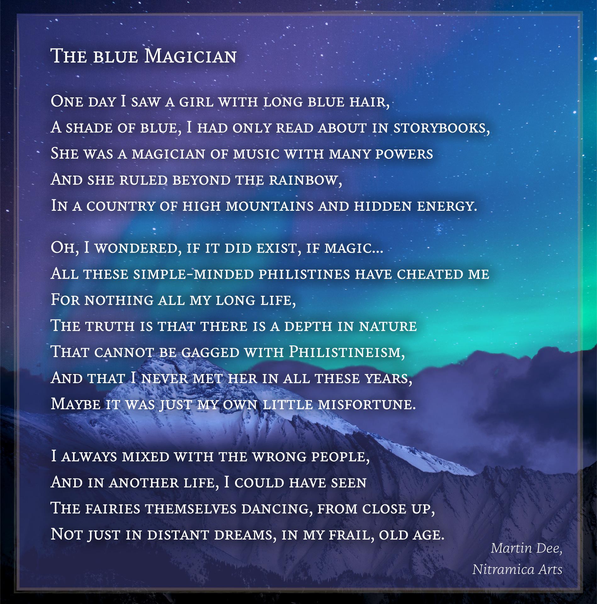 Visual Poetry – The Blue Magician (Text und Grafik: Martin Dühning)