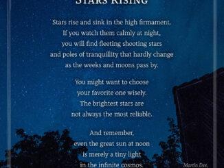 """Das Bildgedicht """"Stars Rising"""", gelayoutet mit der Schriftart Alkes (Grafik und Text: Martin Dühning)"""