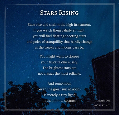 "Das Bildgedicht ""Stars Rising"", gelayoutet mit der Schriftart Alkes (Grafik und Text: Martin Dühning)"